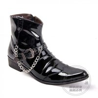 Wholesale Mens Leather Top Coat - Booties Cool Appealing Winkle Picker Buckle For Party Chains High Top Biker Mens Winter Motorcycle Boots Side Zip Coat Of Paint