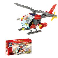 Wholesale Fire Series Fire Rescue Helicopter City Fire Station set Building Blocks Kid Children Toys