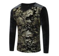 Wholesale floral velvet coat - winter Style Mens Clothing T-shirt men Brand fashion t-shirt printed men T-Shirt baseball sport men t shirt coat Gold velvet shirts
