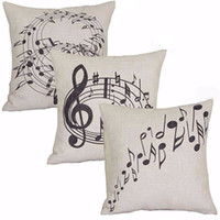 Wholesale Music Linen - Wholesale- Square Music Notes Melody Linen Throw Pillow Case Waist Cushion case