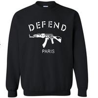 paris hoodie savun toptan satış-Ücretsiz Kargo Erkekler Kadınlar Mektuplar DEFEND PARIS Baskı Slim Fit Siyah Hoodies Kazak Hiphop 3D Tişörtü Tops