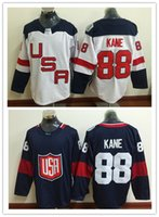 Team USA 2016 Coppa del Mondo di Hockey Maglie 88 Patrick Kane Blu Bianco Sticthed Uomo Uniformi Hockey Kane Mix ordine