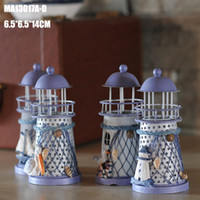 Wholesale Metal Candle Holder Iron - 14cm Mediterranean style home decor lighthouse iron wedding decoration nautical decor candle holder mixed design delivery