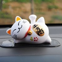 Wholesale Lucky Cat Waving - 10PCS Solar Cat Toys + 1 Car Anti-slip Mat Solar Powered 11cm Maneki Neko Lucky Waving Beckoning Fortune Cat Car Decor
