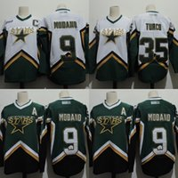 Wholesale Throwback Jerseys Dallas - Mens Dallas Stars CCM Throwback Jersey 9 Mike Modano 35 Marty Turco 100% Stitched Embroidery Logos Hockey Jerseys White Green