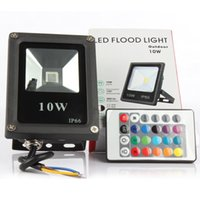 Wholesale Outdoor Rgb Controller - Wholesale-Led floodlights 10W lighting IP65 outdoor 220V spotlights RGB with remote controller spot flood lamp garden10w rgb power led