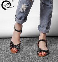 Wholesale Low Price Bow Ties - Spring xiu brand fish-mouth women's style sandals 2017 new European and American bow women's large size flat sandal high quality low price