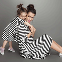 Wholesale Couple Outfit Clothing - Fashion mother and daughter dress couple look stripe family matching outfits Baby Girls clothes dress mom kids Children clothing