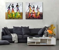 Wholesale Modern Woman Figure Art - 2 Panel Pure Handpainted Modern Abstract Portrait Art Oil Painting Dancing African Women,Home Decor High Quality Canvas size can customized