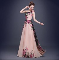 Wholesale Graduation Dresses Online Cheap - Stunning One Shoulder Flower Printed Long Prom Dresses 2017 Cheap Women Formal Evening Dress Party Graduation Homecoming Gowns US UK Online