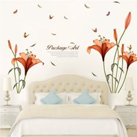 Wholesale Red Kids Wall Room - Wall Sticker Red Lily Flower Decal Home Decor Stylish Background Decoration Removable Water Proof Stickers Pastoral Style 3 5pc F R