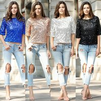 Wholesale Ladies Gold Sequin Shirt - New 2017 Summer Fashion Bead Piece Women Tops Middle Sleeves Sequins t-Shirt Ladies Round Collar Women t-Shirt