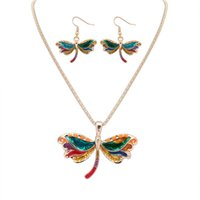 Wholesale Dragonfly Wind - Fine Jewelry sets Fast selling through the explosion of the European and American Wind jewelry set fashion drop oil naughty Dragonfly Neckla