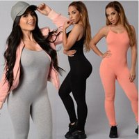 Wholesale New Leggings Set - 2017 NEW Women Yoga Rompers Fashion One-Piece Yoga Sports Pants Sling tight trousers Sports Outdoor Leggings Jumpsuits