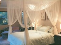 Barato Cama King Queens-Branco 4 Cama de canto Canopy Mosquito Net Full Queen King Size Netting Bedding