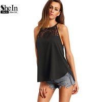 Wholesale High Neck Camisoles - Wholesale-SheIn Female Hot Sale Loose Tops Solid Black Spaghetti Strap Round Neck High Low Cheap with Lace Chiffon Camisole