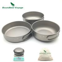 Wholesale Titanium Outdoor Cookware - Boundless Voyage 3pcs Camping Titanium Bowl Pan Set Outdoor Picnic Ultralight Cookware Ti1571B Ti1572B Ti1573B Ti1574B