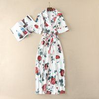 Wholesale Vintage Rose Prints - Europe and the United States women's 2017 The new summer Fashion classic Vintage rose printed short sleeves with long ends dress