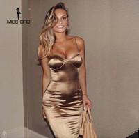 Wholesale Club Bra Dresses - Wholesale- Missord 2017 Sexy bra sleeveless halter SPLIT dress FT4924