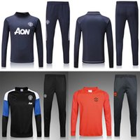 Wholesale Tracksuit Cheap - New 2016 17 18 MEN RED DEVIL 2017 2018 MU Tranning outfits Tracksuits Jacket Pants MARTIAL MATA POGBA ANDER DE GEA Wholesale Cheap jersey
