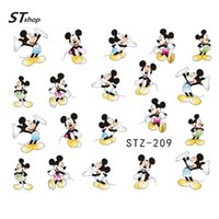Wholesale Nail Cartoon Art Designs - Wholesale-1Sheet Fashion Water Transfer Decal Nail Art Stickers Cartoon Design Manicure Decorations For Nail Accessories STZ209-215