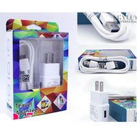 Wholesale V8 Wall Charger - Wall Charger Travel Adapter 2in1 Charger Micro USB Cable V8 For Samsung Galaxy S5 S4 Note3 i9600 i9500 HTC Huawei Lenovo in Retail Box DHL