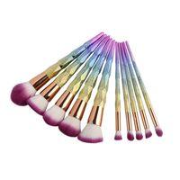 Wholesale 3d glitter makeup - 10Pcs Makeup Brush Set 3D Dazzle Glitter Foundation Powder Makeup Brushes Rainbow Makeup Eyeshadow Brush Kits HOT SALES 2805101