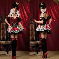 Wholesale Deluxe Sexy Costume For Halloween - New Queen of Heart Cosplay costume fancy dress sexy deluxe queen of heart costume Female queen halloween Party Dresses for women