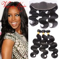 Body Wave Molhado e Onda Cabelo Top Lace Frontal Com 3 Pacotes Unprocessed Raw Virgin Hair Natural Black Cheap Hair Weaves Extensions Sale