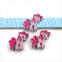 Wholesale Diy Slide Charms 8mm - 50pcs little horse series Wholesale price pony zinc alloy slide Charms DIY Accessories Fit 8mm Pet Collar wristband keychains