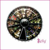 Wholesale 12 Nail Foil - Wholesale- 1 set 12 Colorful Queen diamond stone nail art decoration Rhinestone Foil wheel Nail metal stickers Nail Crystal studs