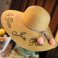 Wholesale Large Folded Straw Hats - Summer Candy Color Large Brim Letter Sequin Embroidery Folding Straw Hat Girl Sunny Ladies Straw Boho Cap Beach Sun Hat