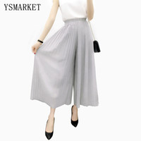 Wholesale Korean Dance Trousers - Korean Summer Stretch Soild 2017 Wide Leg Pants Female Pleated Long Women Dance Pant Feet Straight Casual Chiffon Trousers E8444