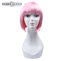 Pink Red Straight Bob Wig avec Flat Bangs perruques en dentelle synthétique Cosplay Daily Party Wig Perruques Short Lace Bob Wigs