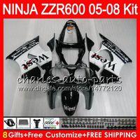 kawasaki ninja oeste venda por atacado-8Presentes 23Cores Corpo Para KAWASAKI NINJA ZZR600 05 06 07 08 32HM3 600CC ZZR-600 ZX600 05 ZZR 600 2005 preto oeste 2006 2007 2008 kit de Carenagem