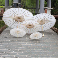 artigos de guarda-chuvas de papel venda por atacado-Guarda-sóis de Casamento Branco Guarda-chuva de Papel Branco Chinês Mini Crafts Guarda-chuva de 4 Diâmetro 20 30 40 60 cm Guarda-sóis de Casamento para Atacado