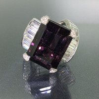 Wholesale Natural Diamond Certified - GIA certified Platinum 950 Natural Purple Siberite Tourmaline & VVS Diamond Ring