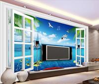 смотреть в прямом эфире оптовых-Сон окна вид на море гостиная телевизор фоне стены росписи 3D обои 3D обои для ТВ фоне