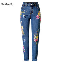 Wholesale Vintage High Waist Skinny Jeans - Wholesale- 3D Embroidery High Waist Jeans Women 2017 Fashion Straight Denim Embroidered Jeans Woman Pants