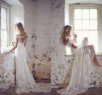 Wholesale Boho Princess Dress - Lace Wedding Dresses Deep V Neck Off The Shoulder Cap Sleeves Backless Beach Wedding Gowns Boho Bridal Dresses Sweep Train