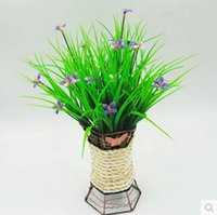 Wholesale Wholesale Rustic Flower Vases - plastic flower artificial Green grass household rustic clover plants artificial lucky grass NO vase wholesale 10pcs MA1508