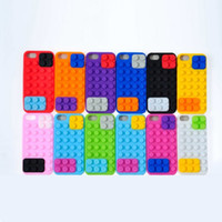 Wholesale Building Blocks Cover - Building Block Pattern Silicone back cover cell case for iphone Cute Cartoon phone skin cover fit for iphone