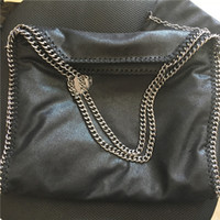 Wholesale Sliver Chains - HOT Top falabella stella Classical Black fold-over 37CM MID Three Chain Shaggy Deer PVC soft steel heavy dark sliver chain casual Tote