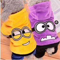 Wholesale Warm Winter Pet Dog Clothes Fleece Dogs Minions Costume Cute Pets Hoodie Coat Jacket Autumn Jumpsuit Clothing for Puppy Dogs