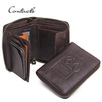 Wholesale Interior Design Prints - Wholesale- CONTACT'S Men Wallets Genuine Leather Brand Design Zipper Purses Bicycle Print Designer Mens Purses Money Bag With Coin Pocket
