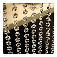 Wholesale Table Decoration Crystals Diamonds - 3.3 Feet Crystal Clear Acrylic Beads Chain Acrylic Crystal Garland Hanging Diamond Chandelier Wedding supplies Party Table Decoration