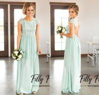 Wholesale Mint Color Long Sleeve Dresses - 2017 Cheap Mint Green Bridesmaid Dresses Cheap Scoop Chiffon Floor Length Lace Backless Long Bridesmaid Dress for Beach Wedding