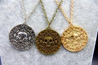Wholesale Caribbean Fashions - Wholesale-Fashion Jewelry Vintage Charm Alloy Aztec Coin Pendant Necklace Pirates of the Caribbean