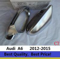 chrom rückspiegel großhandel-Rückspiegel Fall Seitenspiegel Chrom Matt Abdeckung Für Audi A6 C7 2012-2016 Ein Paar