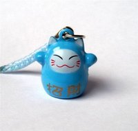 Wholesale Maneki Neko Strap - Wholesale 50pcs Blue (HAPPINESS) Maneki Neko Lucky Cat Bell Cell Phone Charm Strap 0.6 in. Popular Gift